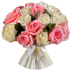 Букет из 21  белых и розовых роз