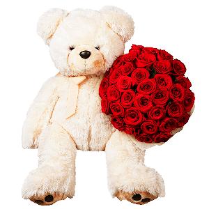 Цветы на 14 февраля - Счастливый мишка