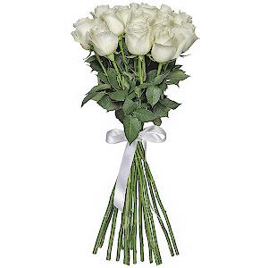 Букет из 15  белых роз - премиум